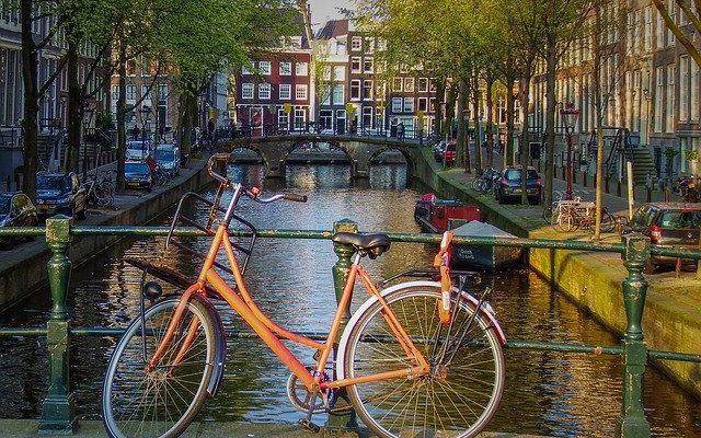 bridge bike amsterdam bicycle